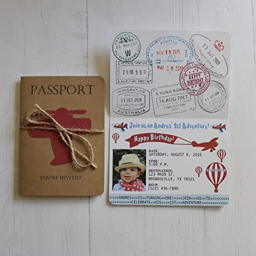 Amazon passport birthday invitations vintage airplanes hot passport birthday invitations vintage airplanes hot air balloons set of 10 filmwisefo