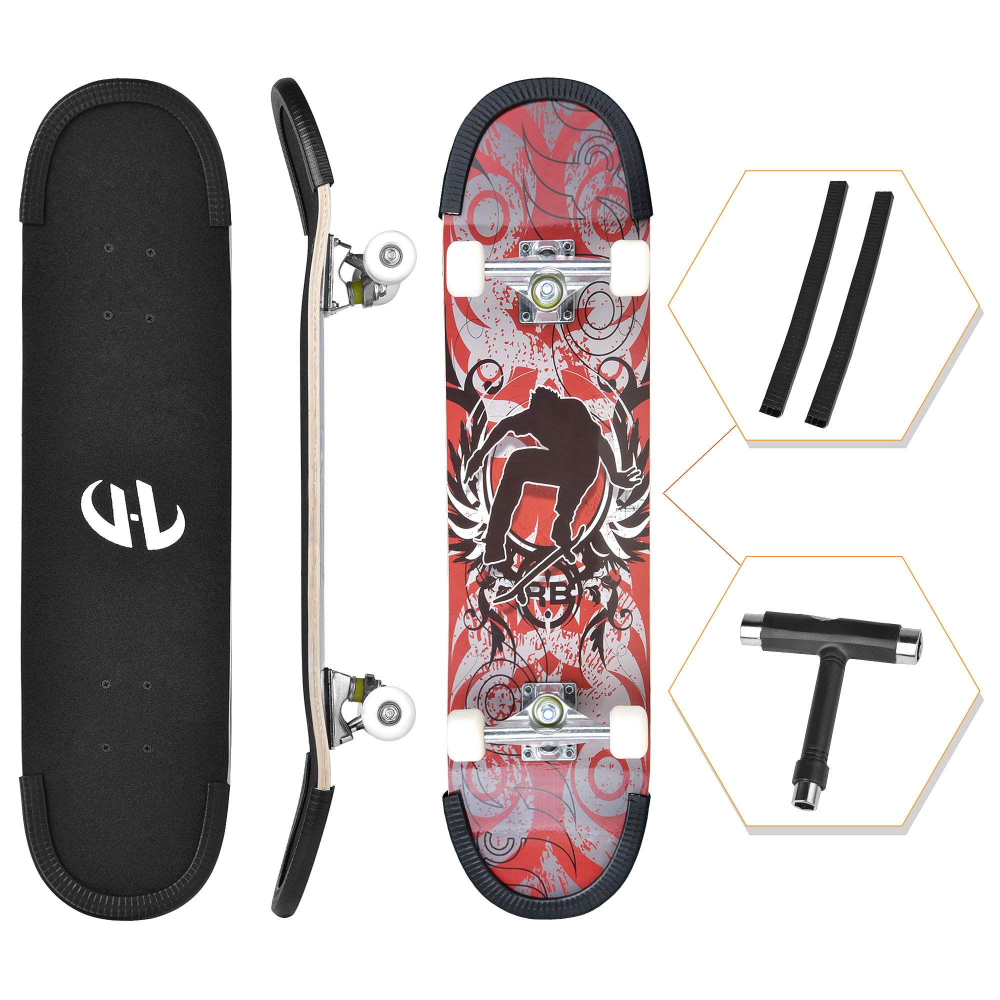 ENJUCOM 31'' x 8'' Complete PRO Skateboard for Beginner, Extreme Sports