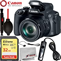 Canon PowerShot SX70 HS Digital Camera with Starter Accessory Bundle – Includes: SanDisk Extreme 32GB SDHC Memory Card + Wired Shutter Remote + More - International Version (No Warranty)