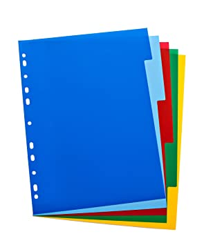 ELBA 100205075 - Separador para archivadores (A4, 5 partes), multicolor: Amazon.es: Oficina y papelería