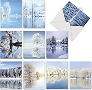 Tree-flections - Box of 10 White Landscapes Blank Note Cards with Envelopes (4 x 5.12 Inch) - Beauty of Nature All Occasion Greeting Cards - Assorted Boxed Notecard Set AM6134OCB-B1x10
