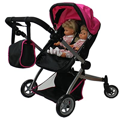 Babyboo Deluxe Twin Doll Stroller Foldable Double Doll Pram with Adjustable Handle, Swiveling Wheels, Convertible Seat, Basket, and Free Carriage Bag (Multi Function View All Photos) - 9651A: Toys & Games