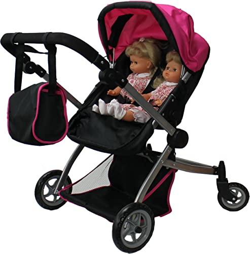 Babyboo Deluxe Twin Doll Stroller black and pink with two dolls in stroler
