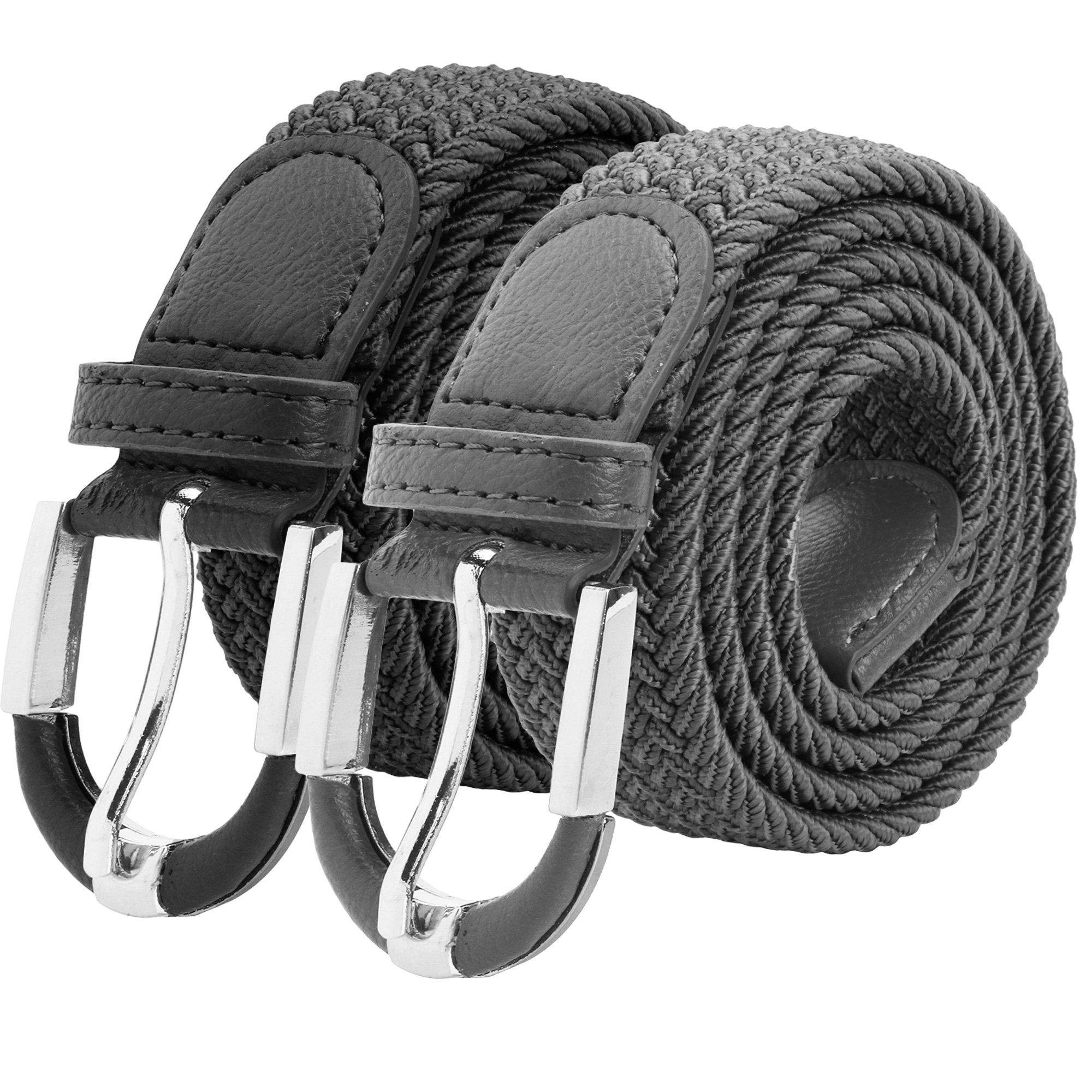 Falari Unisex Braided Elastic Stretch Belt Casual Weave Canvas Fabric Woven Belt 1001-BLKGRY-L