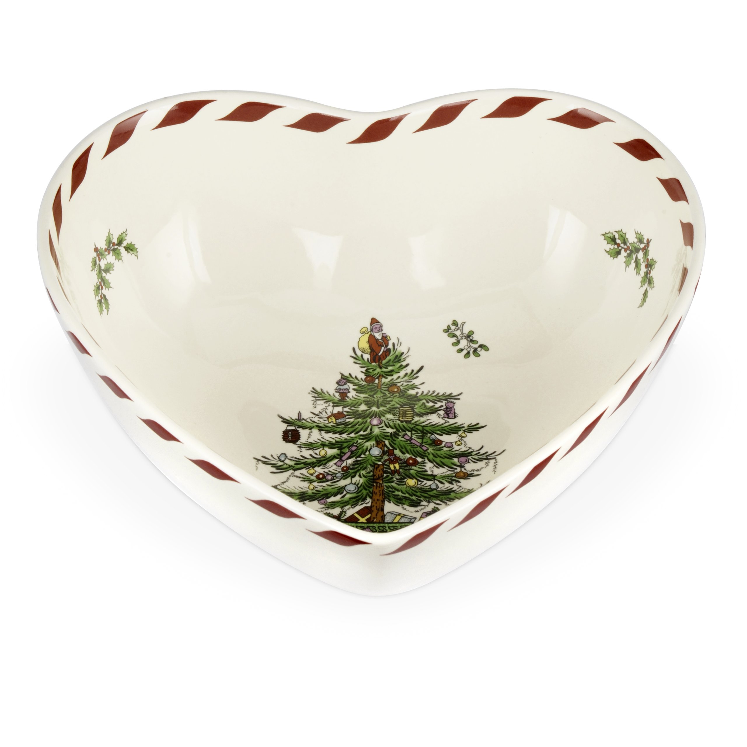 Spode Christmas Tree Peppermint Heart Bowl, 8-Inch
