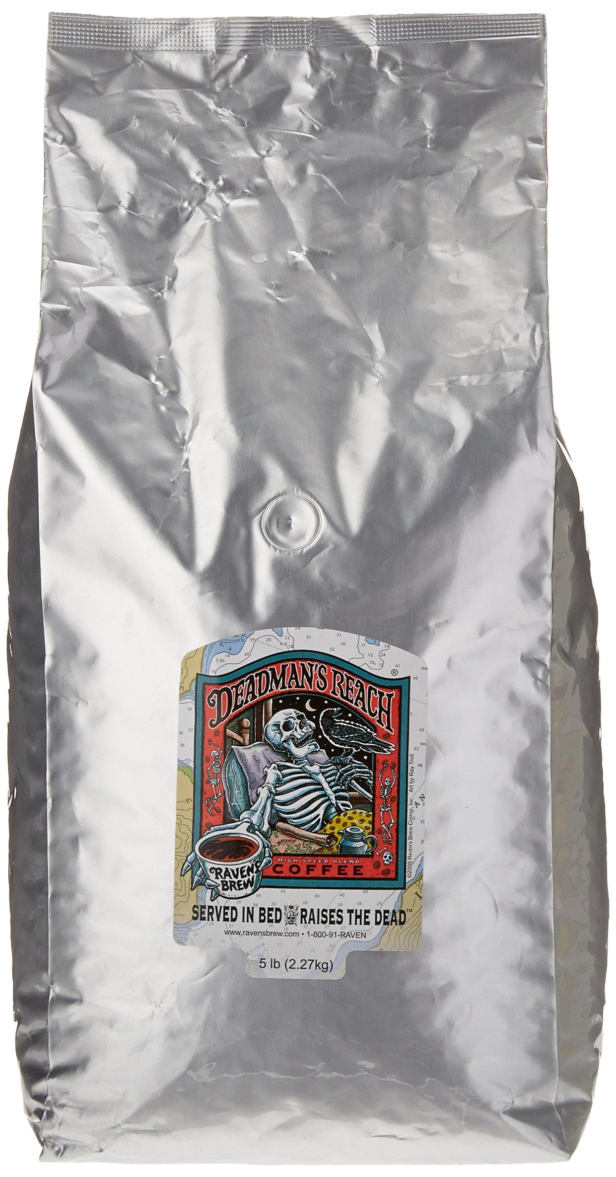 Ravens Brew Whole Bean Deadman's Reach, Dark Roast 5-Pound Bag by Raven's Brew Coffee