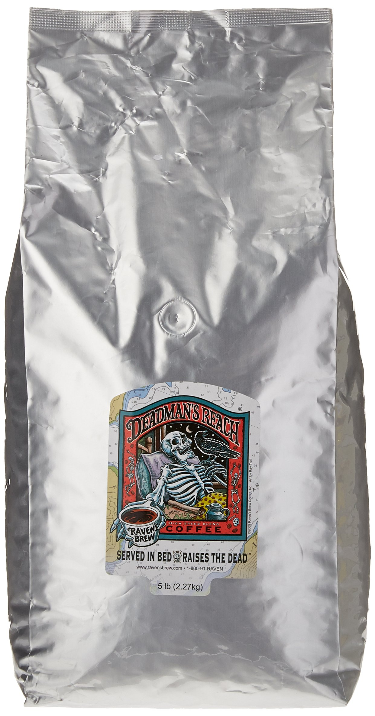 Ravens Brew Whole Bean Deadman's Reach, Dark Roast 5-Pound Bag
