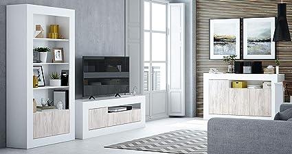 Miroytengo Conjunto Muebles Salon Baltico Estilo Moderno Comedor Mesa TV aparador libreria estanteria Blanco