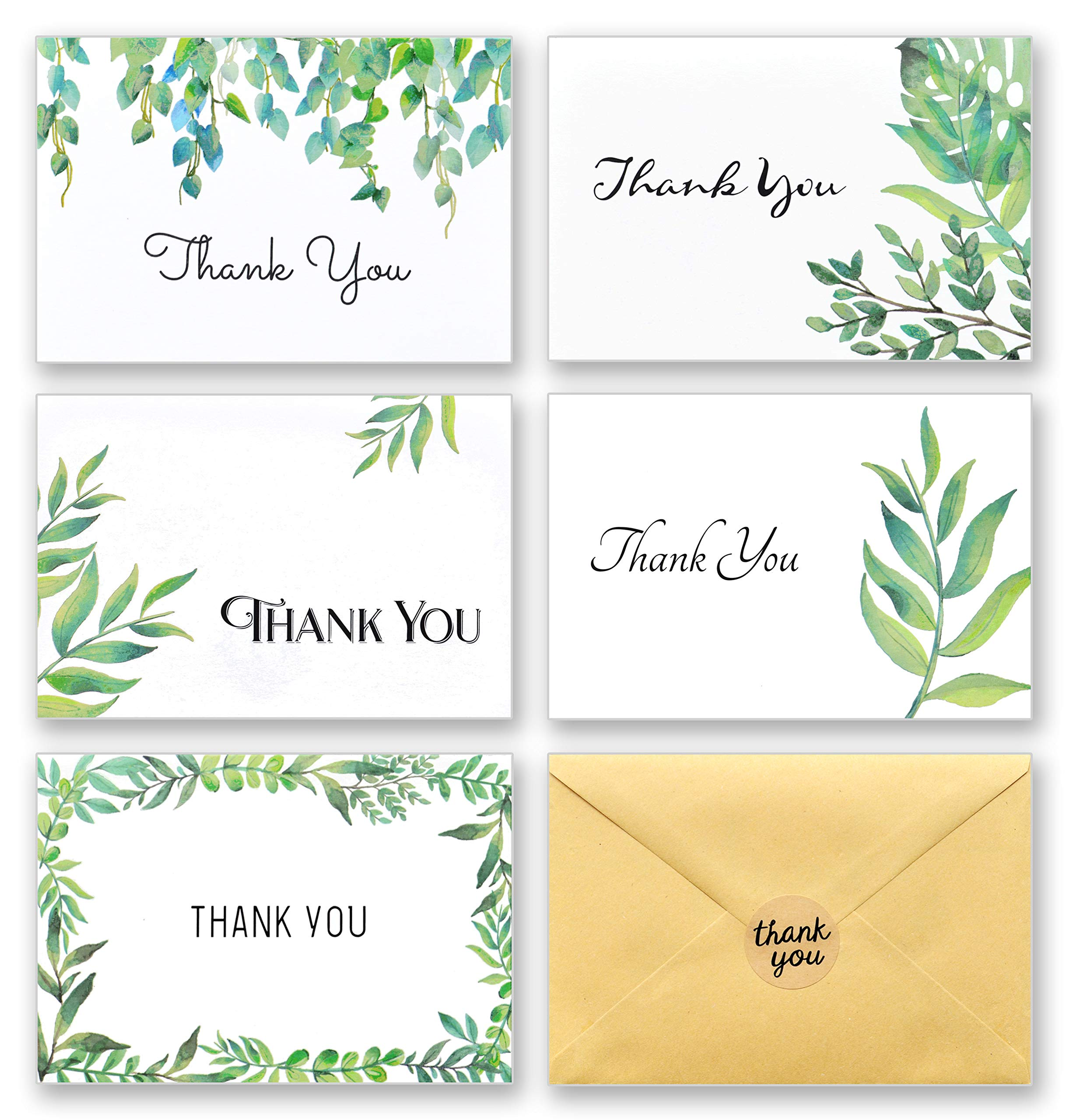100 Thank You Cards with Envelopes and Stickers - White Kraft Paper Watercolor Floral, Greenery Leaves Bulk Notes for Gratitude - 5 Design Foliage Cards for Wedding, Baby Shower and All Occasions 4x6 by T&M Quality Designs