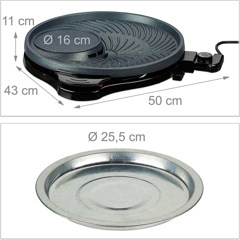 /Ø 40 cm Aluminio Grill El/éctrico de 1500 W Negro Redonda Parrilla para Asar Relaxdays Plancha Cocina