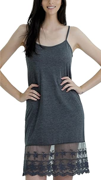 849847916562 Melody Women's Adjustable Knit Layering Full Slip with Lace Extender  (Small,Dark Grey)