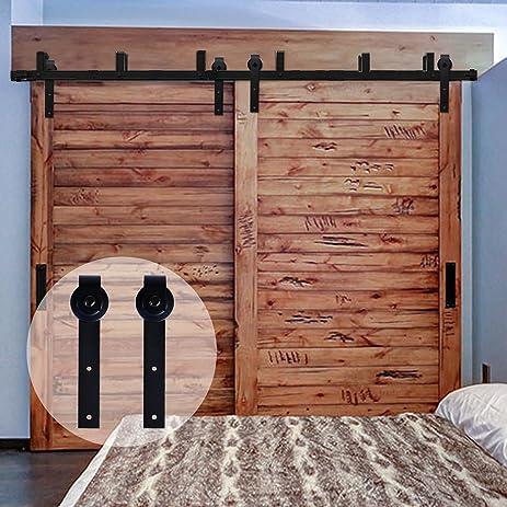 CCJH Flat Style Bypass Sliding Barn Wood Closet Door Rustic Black Hardware  Track Set (9FT