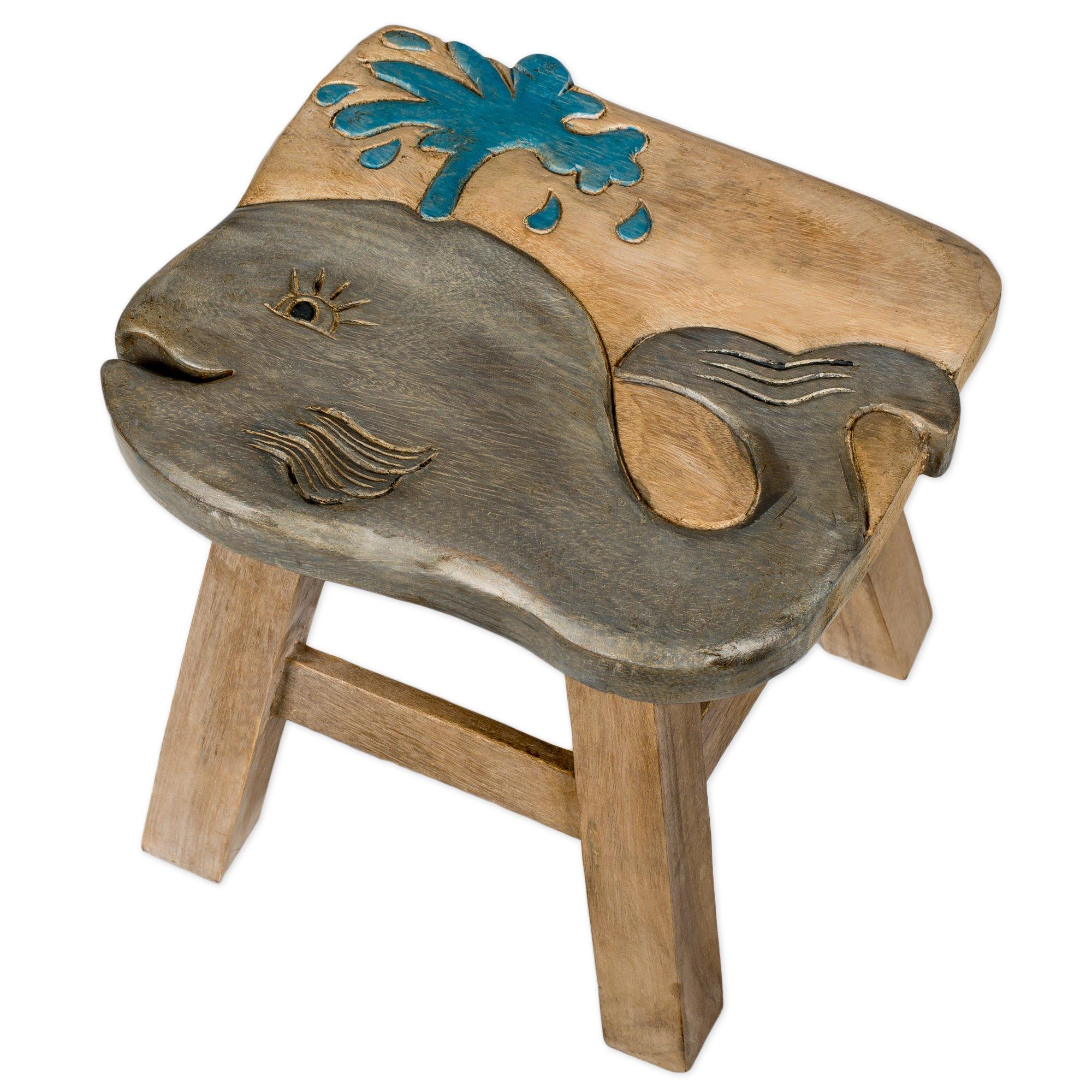 Whale Design Hand Carved Acacia Hardwood Decorative Short Stool