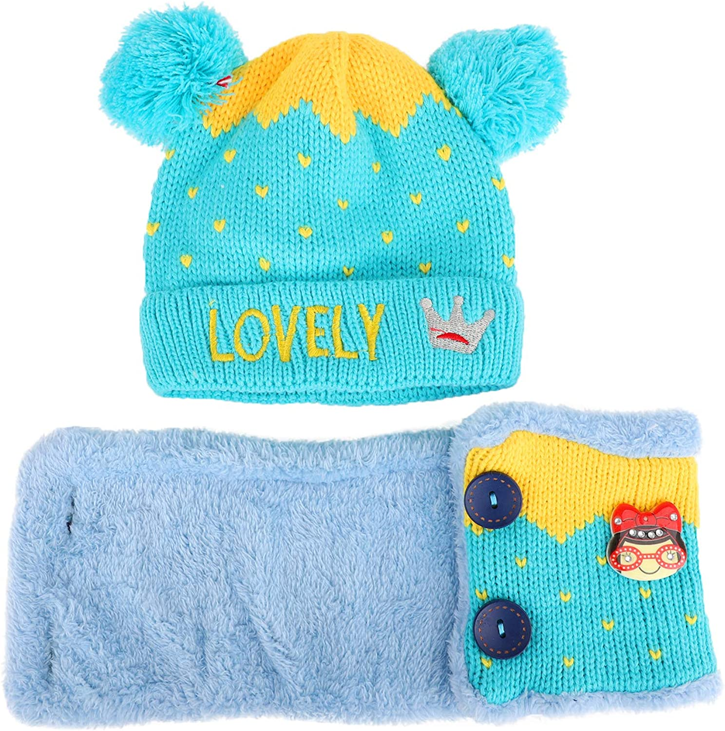 Scarf Neck Warmer for 0-3Y Babies Tabpole Infant Toddler Winter Knitted Beanie Hat