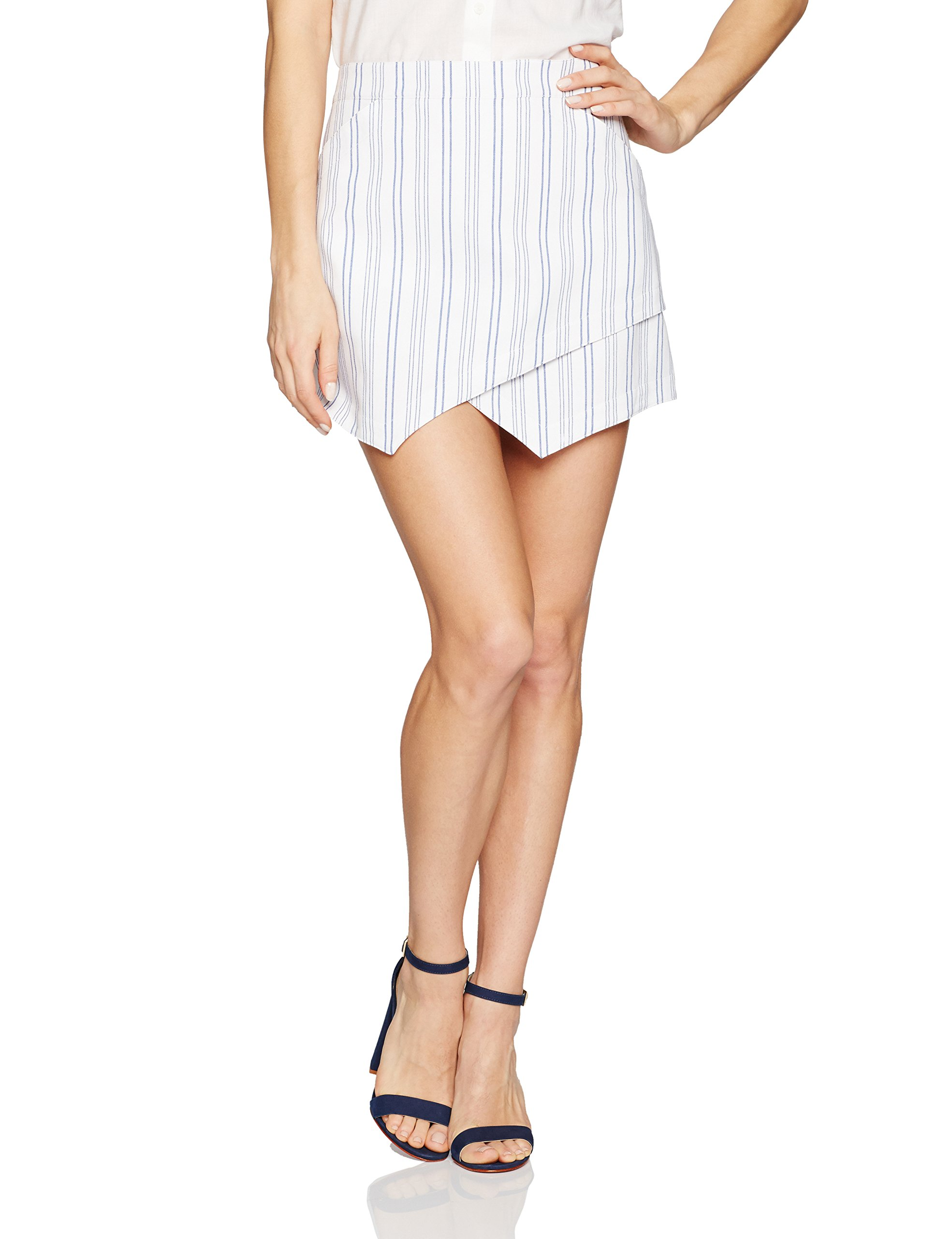 BCBGMAXAZRIA Women's Beckett Skirt, White/Blue, S