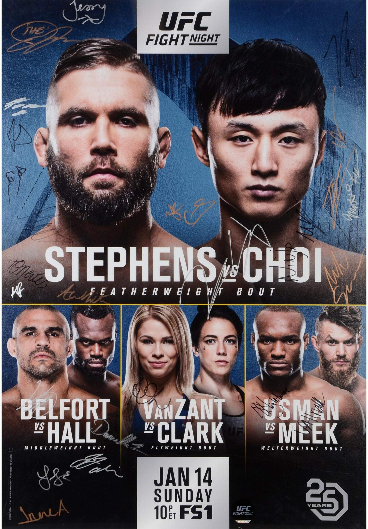 """UFC Fight Night 124 Stephens vs. Choi Autographed 27"""" x 39"""" 22 Signature Fight Poster Fanatics Authentic Certified"""