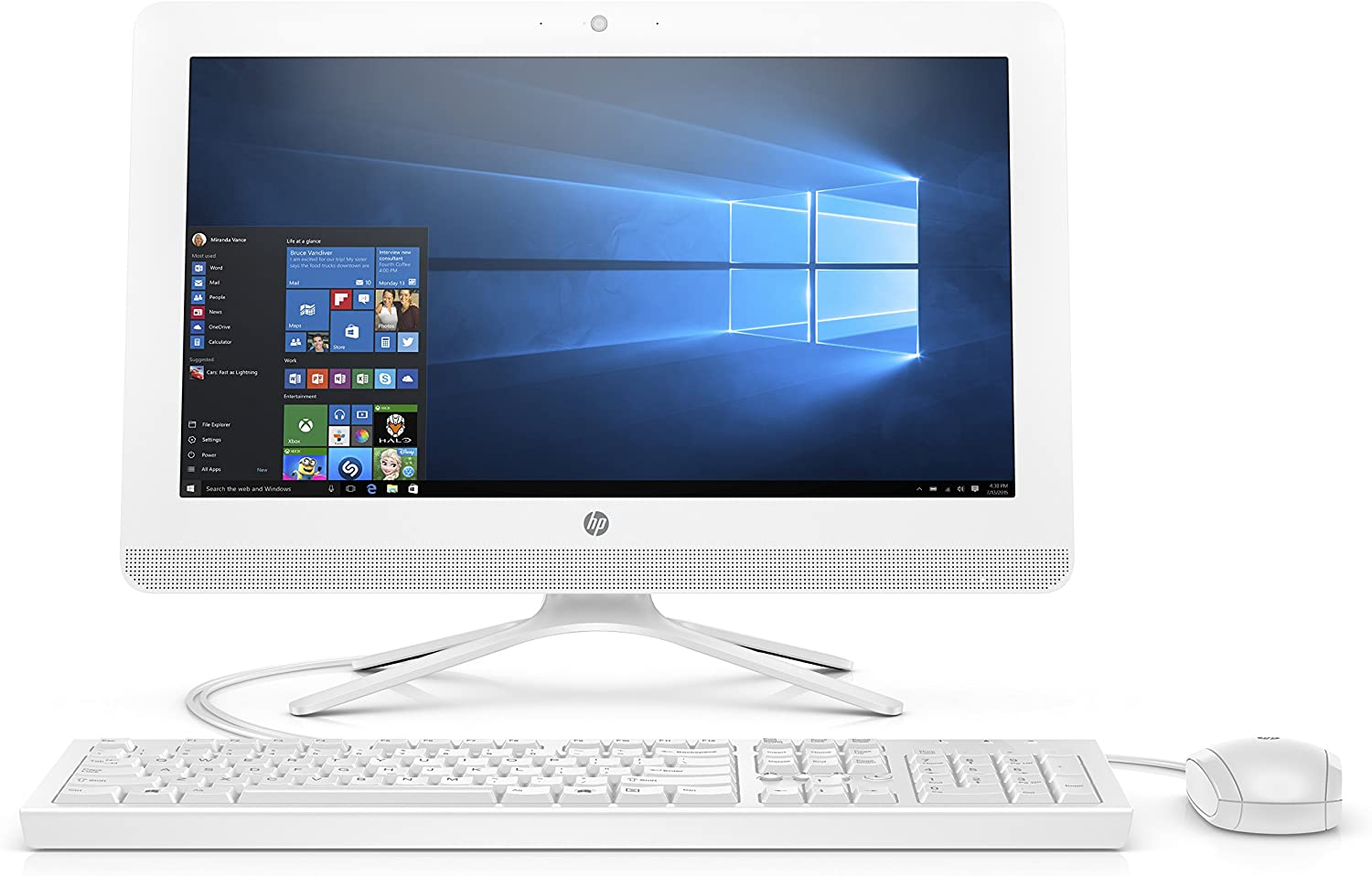 HP 20-inch All-in-One Computer, Intel Celeron J4005, 4GB RAM, 1TB Hard Drive, Windows 10 (20-c410, White) - 3KZ89AA#ABA