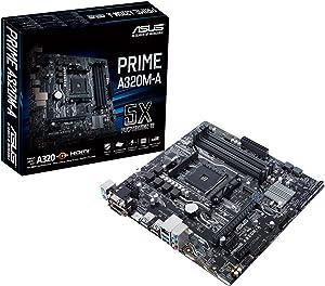 ASUS Ryzen AM4 DDR4 HDMI DVI-D VGA M.2 USB 3.1 PS/2 Micro-ATX Motherboard (PRIME A320M-A)