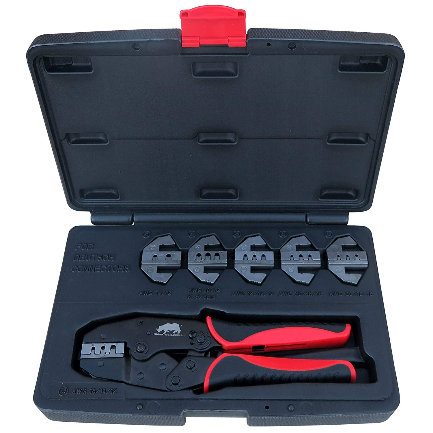 Deutsch Connector Crimping Kit 6 Die Quick Change Crimper for Stamped /& Formed Contacts Rhino Tools