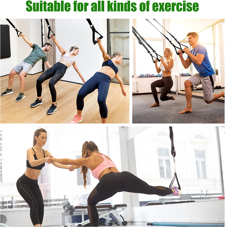 Himetsuya 4-Trainings Griffe Pull Fitness mit 4 Karabinerhaken f/ür Gym Yoga Krafttraining Tube Grips Training Pilates