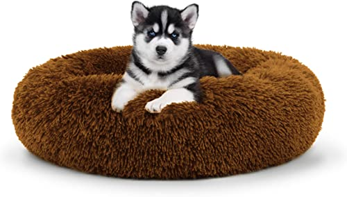 The Dog s Bed Sound Sleep Donut Dog Bed, Small Teddy Bear Brown Plush Removable Cover Premium Calming Nest Bed