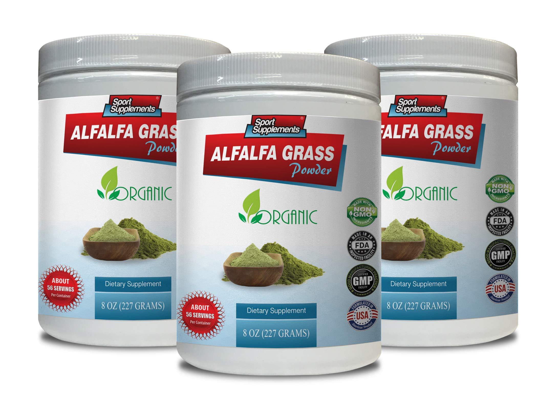 Organic Immunity Vitamins - Alfalfa Grass Powder - Organic Dietary Supplement - Digestive Powder - 3 Cans 24 OZ (168 Servings) by Sport Supplements
