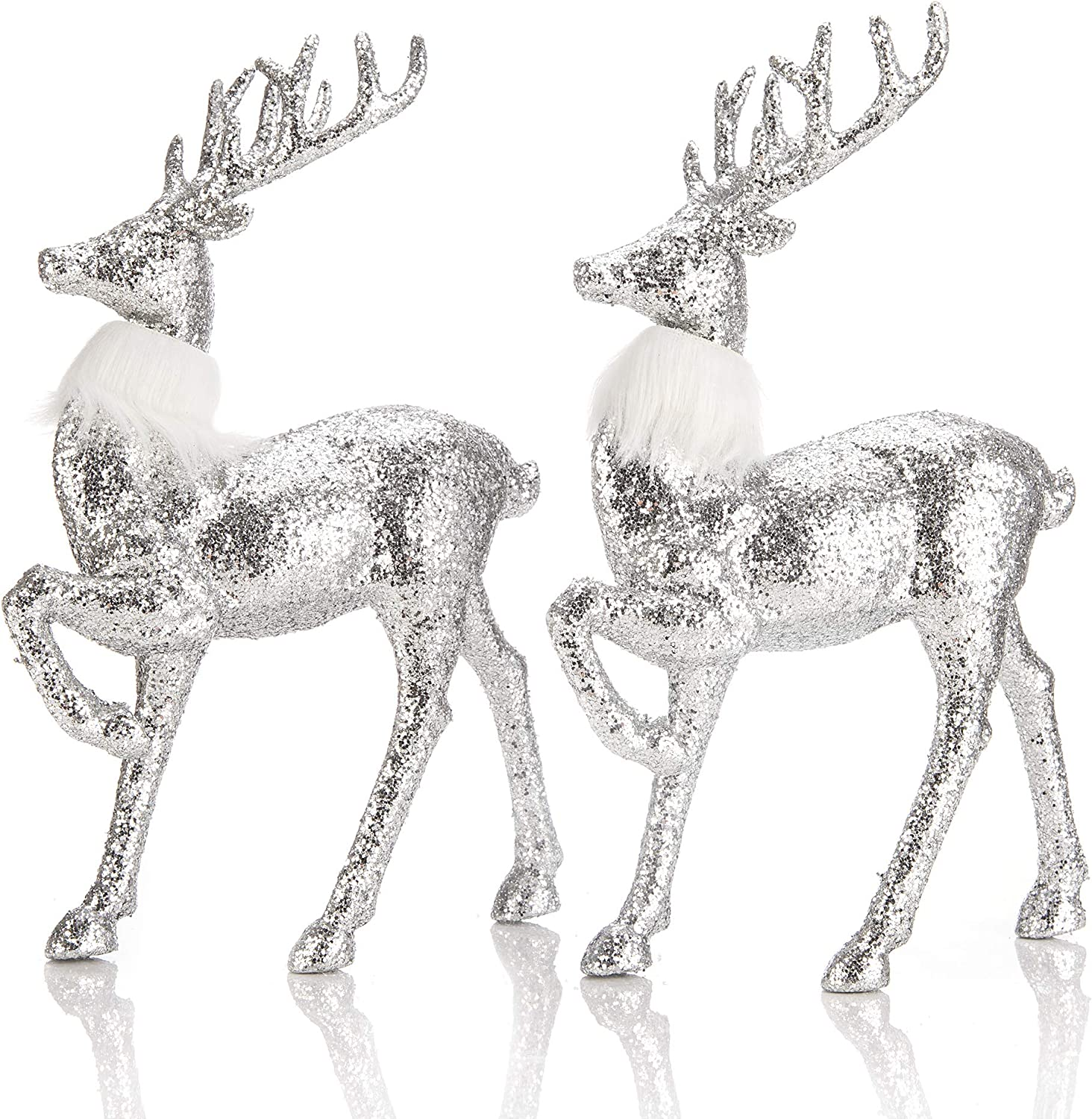 blitzlabs Christmas Silver Sequined Glitter Reindeer Indoor Homely Creative Articles Deer Ornament Figurines Freestanding for Living Room, Tabletop, Kitchen ,Mantle, Shelf ,Desk Winter Decor,Set of 2