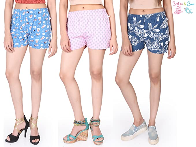 Sofie & Sam Combo Pack de 3 Pantalones Cortos/Shorts para Mujer, de Algodón