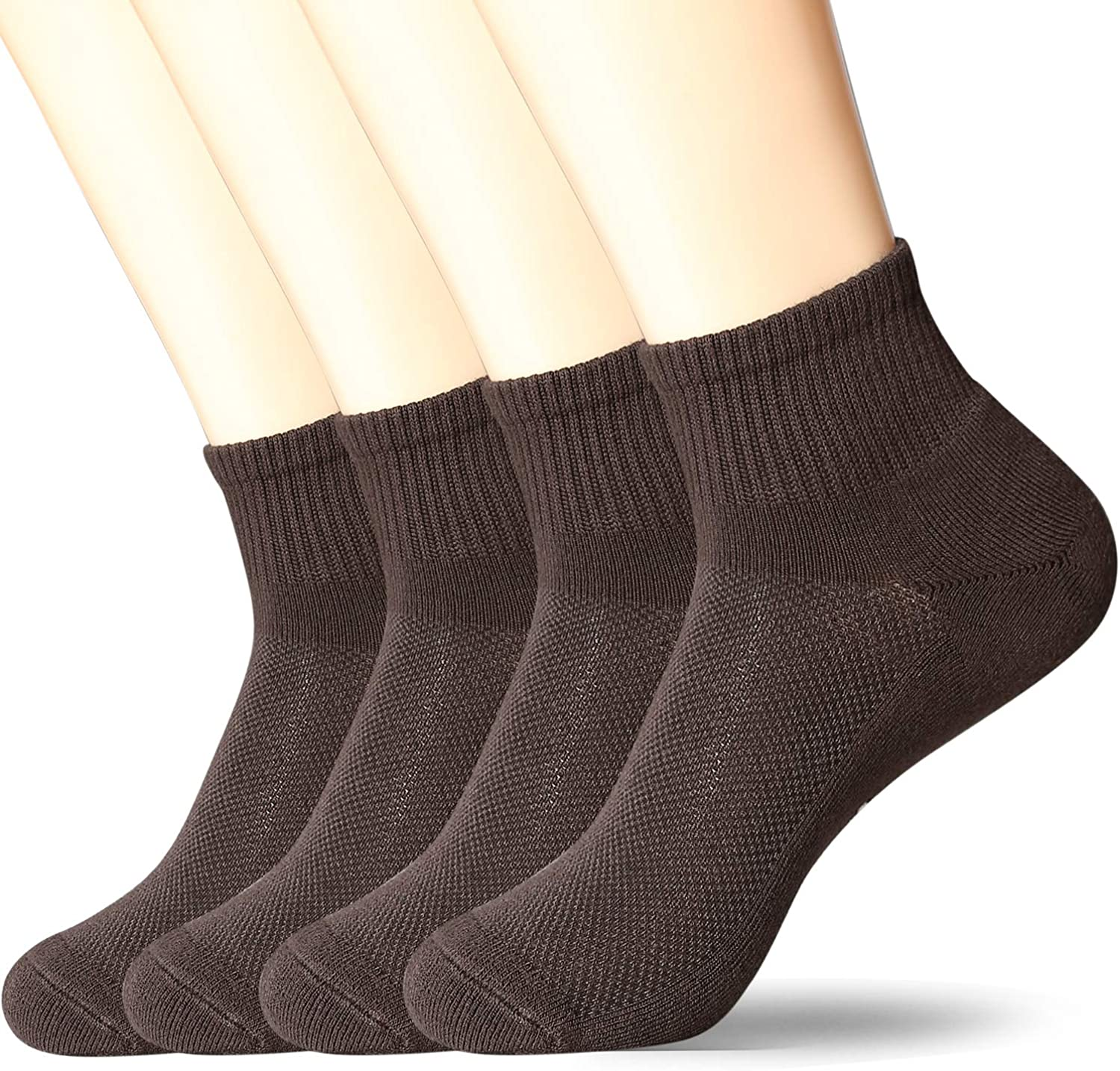 +MD 4 Pack Mens Ultra Comfort Rayon from Bamboo Ankle Socks Cushioned Sole Quarter Dress Socks