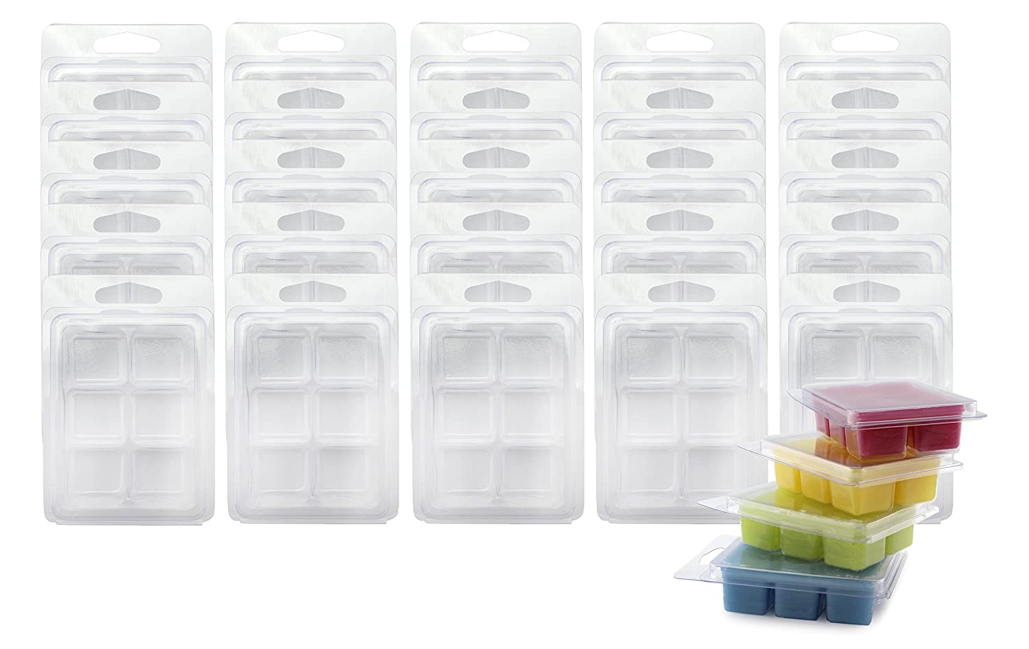 Wax Melt Clamshell Molds (50-Pack); 6-Section Molds for Candle-Making & Soap Cornucopia Brands