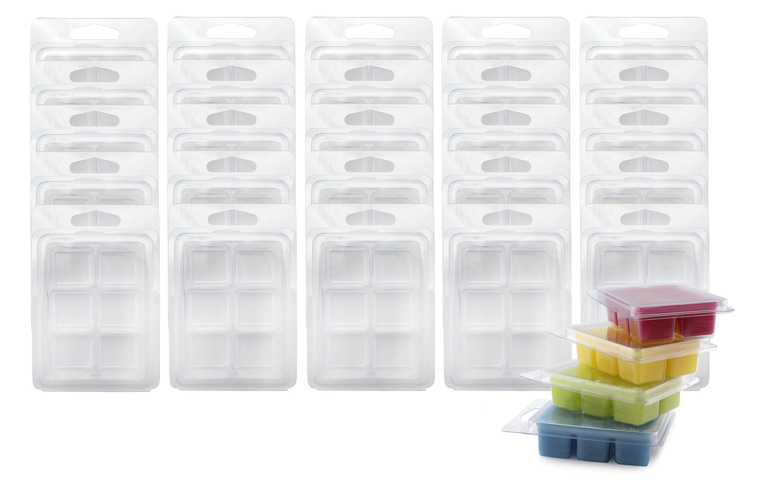 Wax Melt Clamshell Molds (50-Pack); 6-Section Molds for Candle-Making & Soap