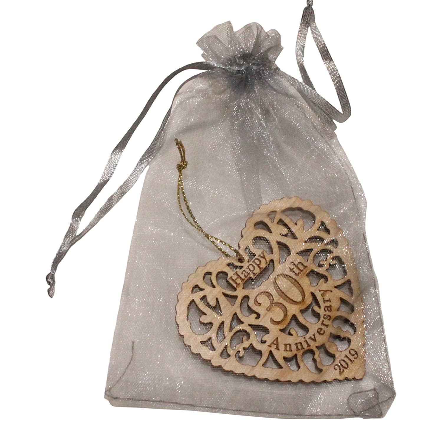 Twisted Anchor Trading Co 30th Anniversary Ornament 2019 Comes In A Pretty Organza Gift Bag So It S Ready To Give Beautiful Laser Cut Wood Detail Heart Shaped Happy Anniversary Ornament Home