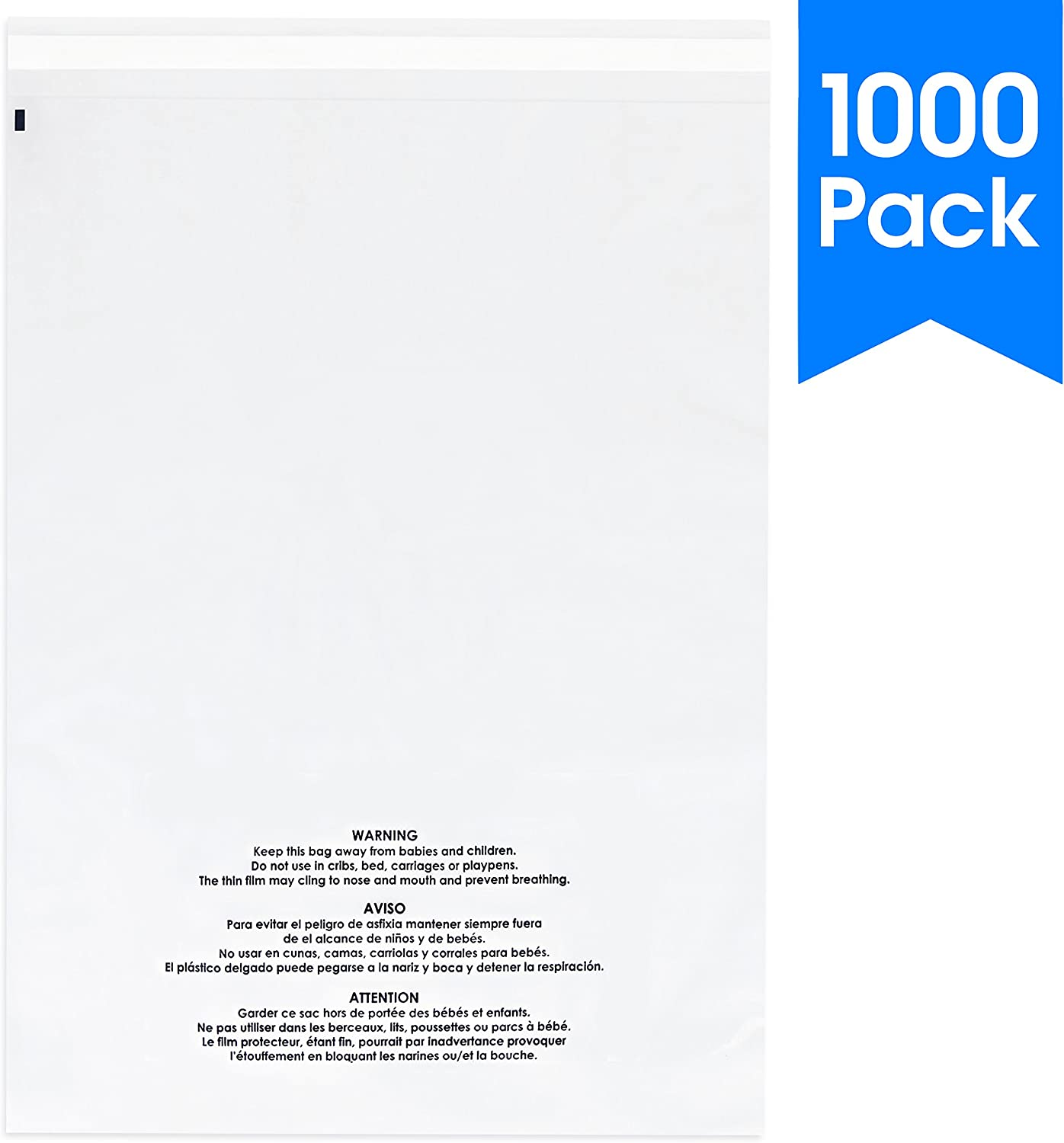 "Spartan Industrial || 1000 Count - 9"" X 12"" Self Seal Clear Poly Bags with Suffocation Warning for Packaging, T Shirts & FBA (More Sizes Available) - Permanent Adhesive"