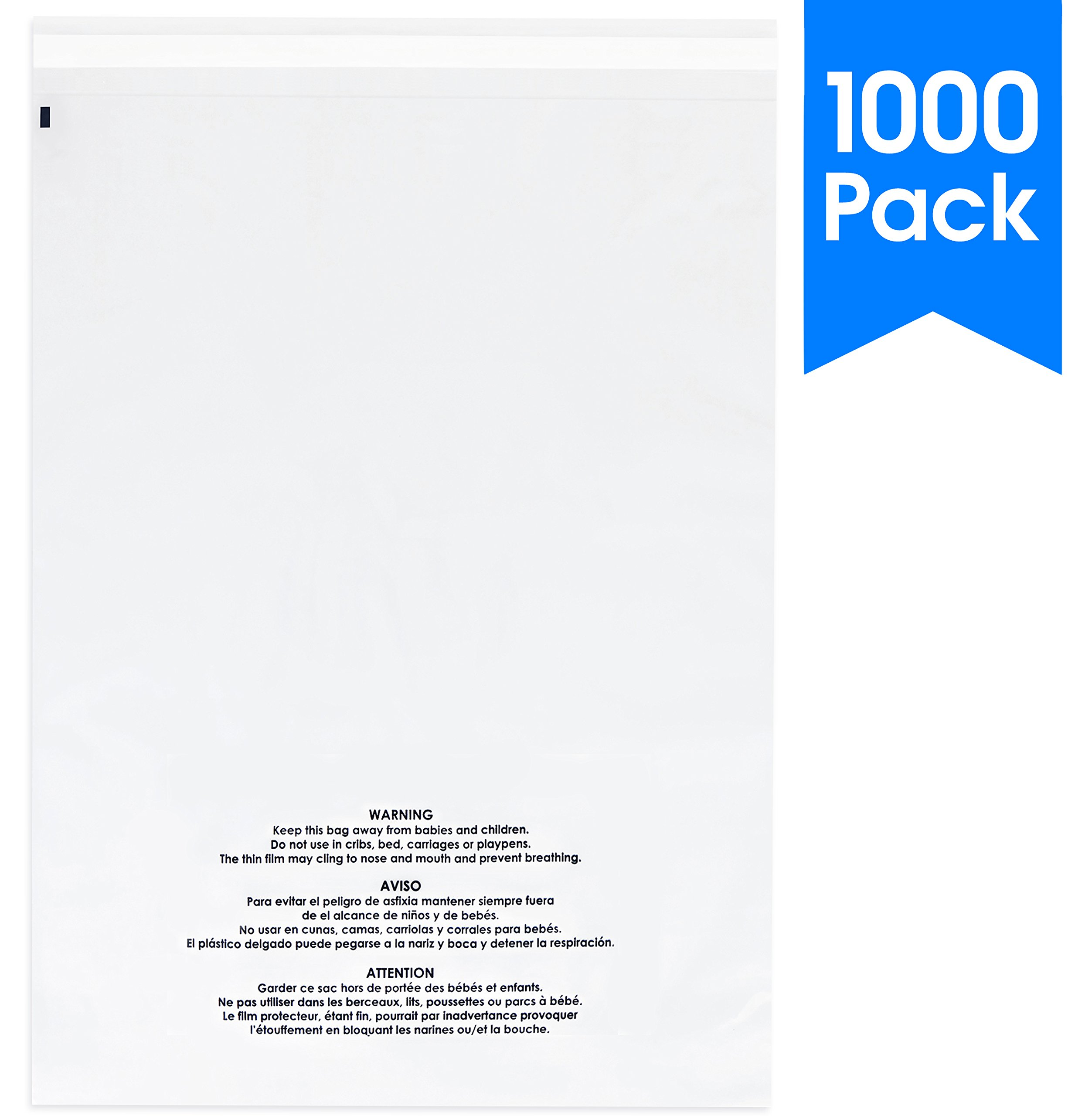 1000 Count - 9 X 12 Self Seal 1.5 Mil Clear Plastic Poly Bags with Suffocation Warning - Permanent Adhesive by Spartan Industrial (More Sizes Available)
