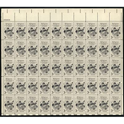 1957 3 Cent Religious Freedom Sheet of 50 Postage Stamps Scott 1099: Everything Else