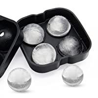 Ice Ball Mold Sphere Maker Tray, Lamavido Black Flexible Silicone Ice Cube Tray, Ultra Slow Melting Ice Spheres Perfectly Round 2 Ice Ball Maker, Whisky, Scotch, Highball Cocktail or Liqueur Glasses