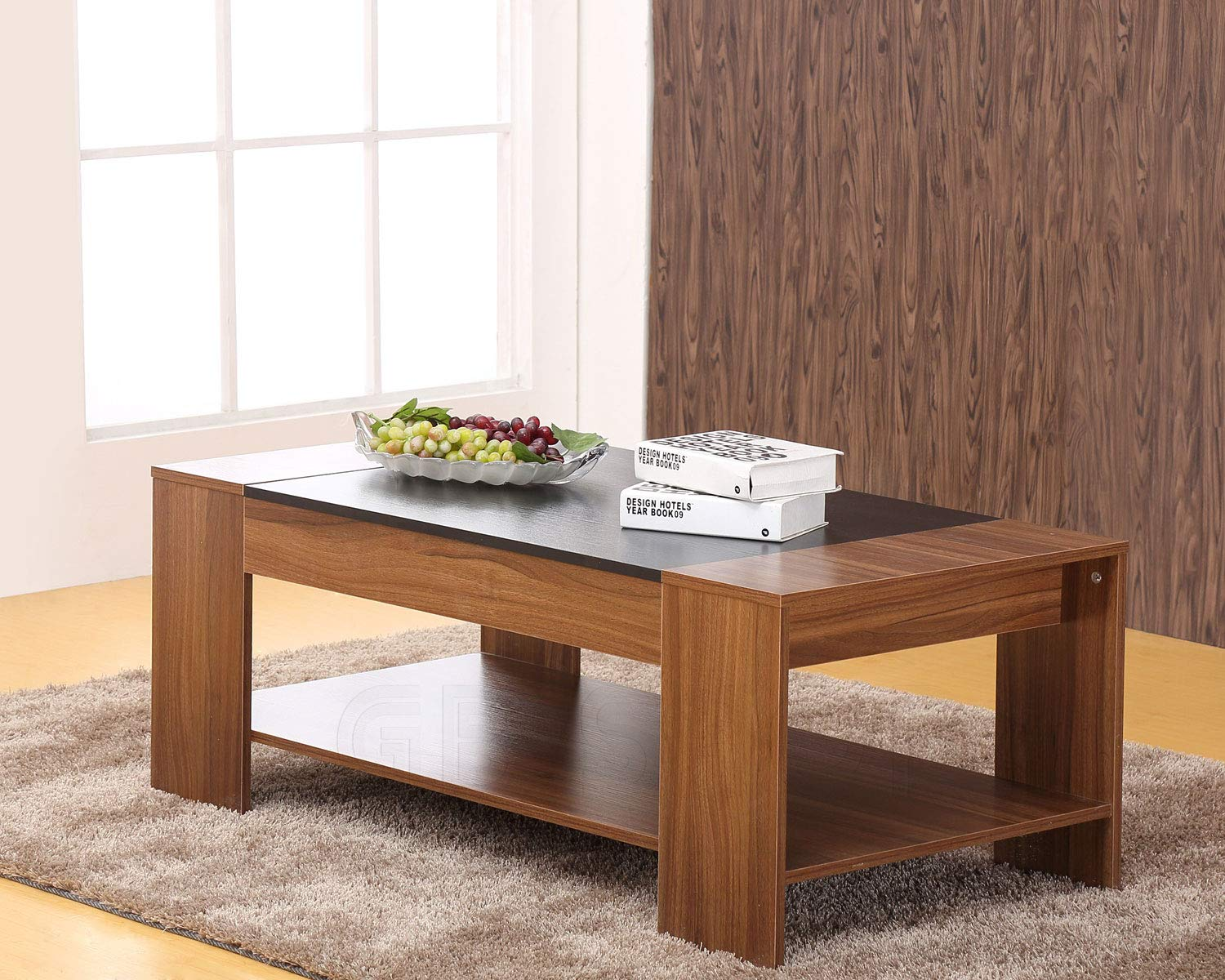 Modern coffee table walnut occasional living room furniture amazon co uk kitchen home