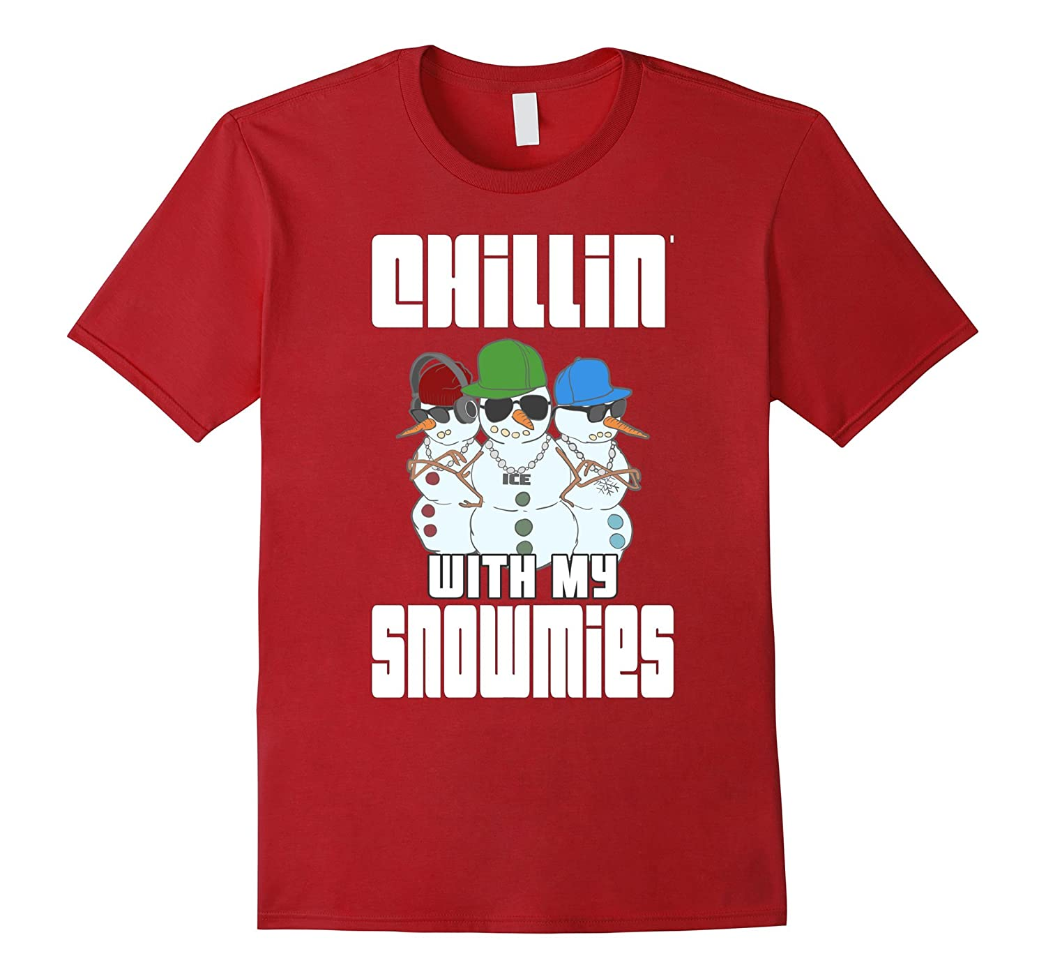 Chillin With My Snowmies Shirt Funny Christmas Snowman Tee-ANZ
