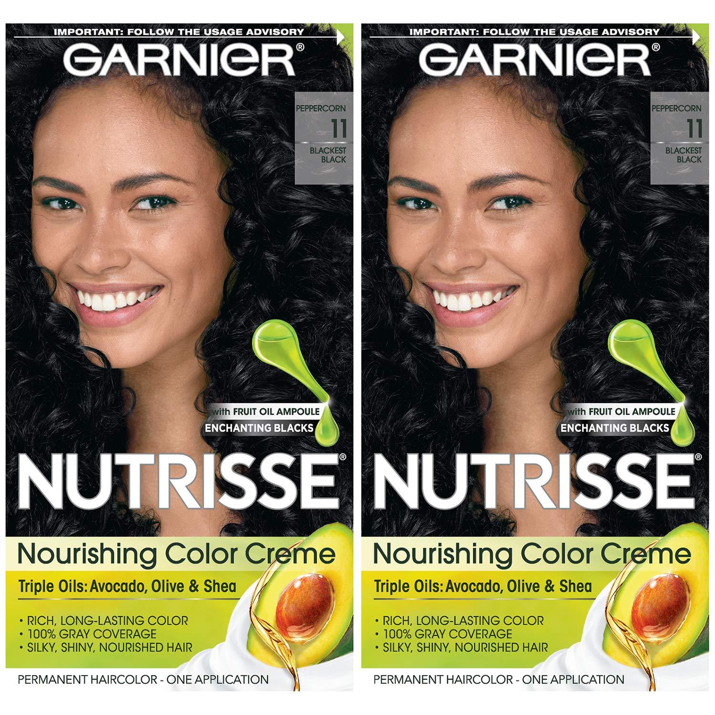 Garnier Hair Color Nutrisse Nourishing Creme, 11 Blackest Black, 2 Count