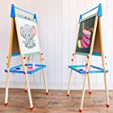 DLone Easel for Kids, Kids Easel with Wooden Paper roll Holder Double-Sided Whiteboard & Chalkboard Kids Art Easel Magnetics,
