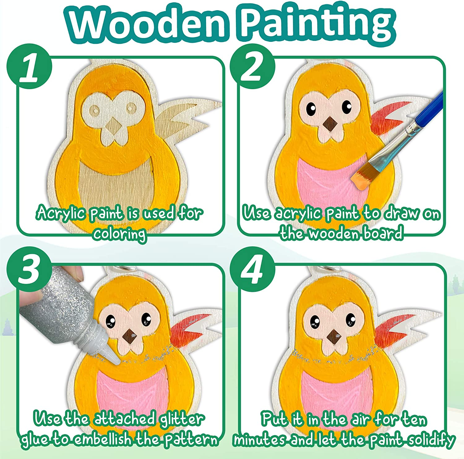 Jantens 29Pcs Wooden Creativity Arts /& Crafts Painting Kit Decorate Your Own for Kids Paint Gift Includes 13 Wooden Animal Crafts 2 Paintbrushes 1 Glitter Glue and 1 Color Palette 12 Paints