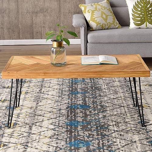 P PURLOVE Modern Wood Coffee Table