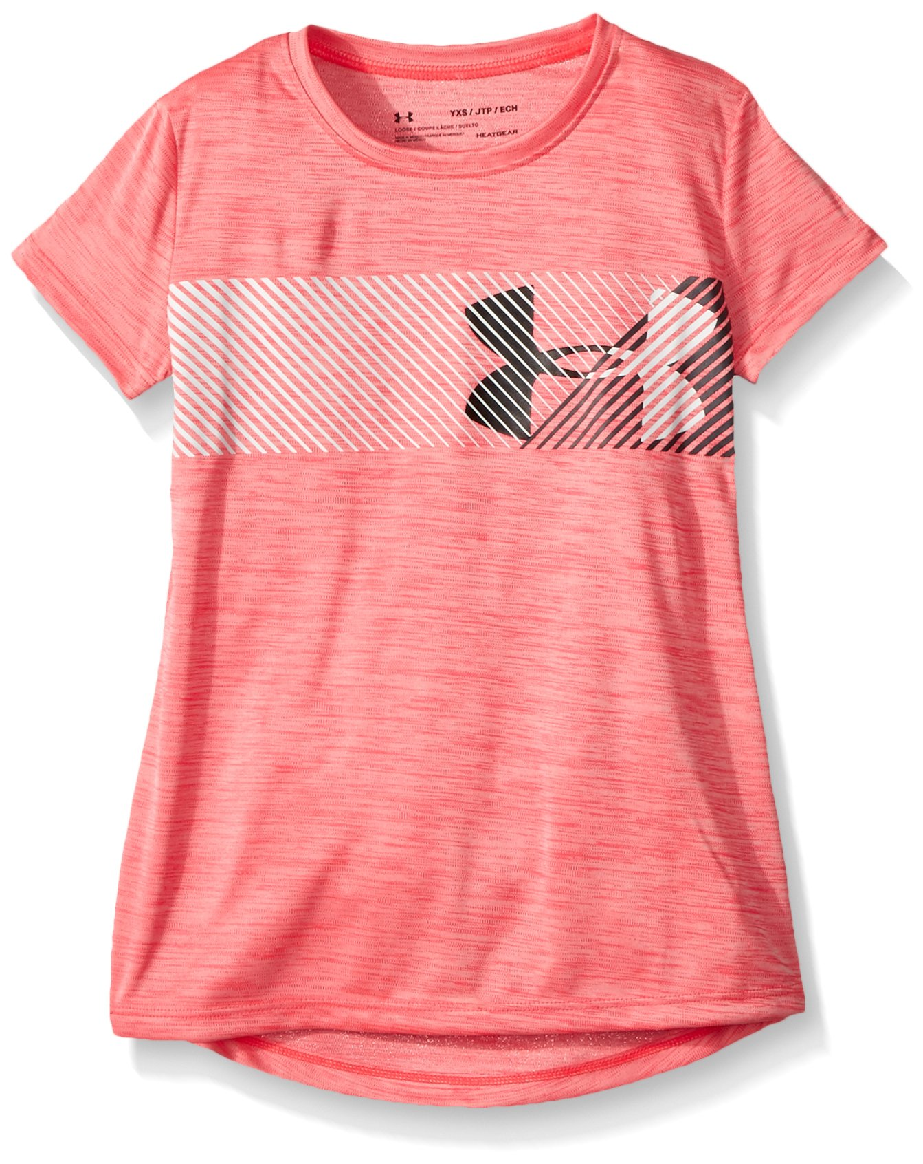 Under Armour Girls' Hybrid Big Logo T-Shirt, Penta Pink /Stealth Gray, Youth Small