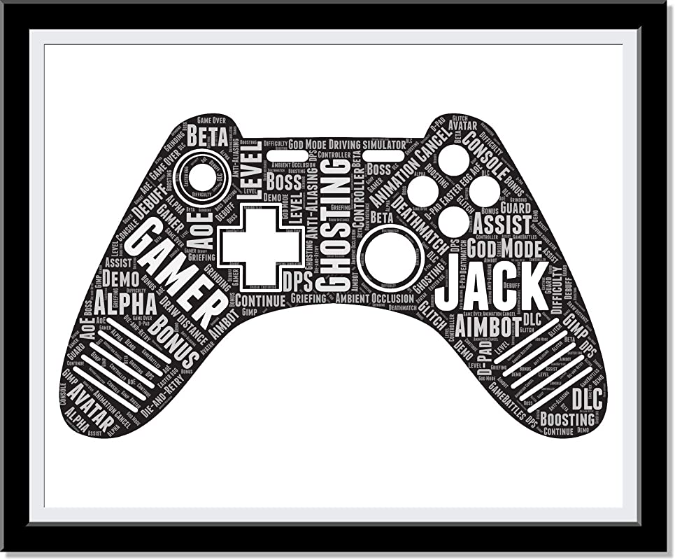 Gamer Gifts for Teenage Boys, Personalized Prints Typography Wordle Word Art Video Game Controller, Custom Gaming room decor, Birthday Gifts for Kids…