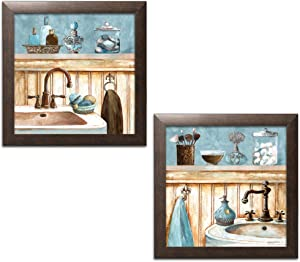 Gango Home Decor Powder Blue Bathroom Still Life Scenes; Two 12x12in Brown Framed Prints; Ready to Hang!