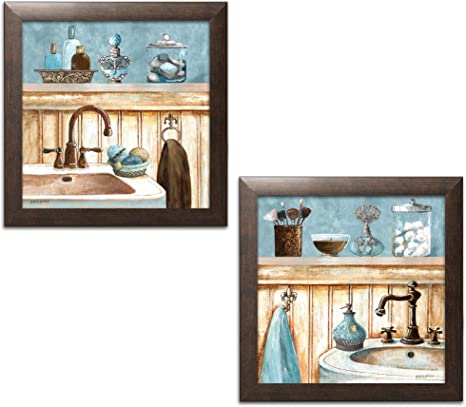 Amazon Com Powder Blue Bathroom Still Life Scenes Two 12x12in Brown Framed Prints Ready To Hang Posters Prints