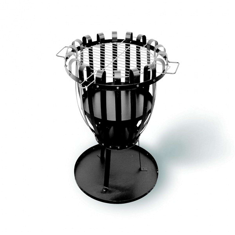 Stabiler und flexibler Feuerkorb, auch als Grill benutzbar, verchromter Grillrost: 33 cm, Maße: 45 x 73 cm x 45 cm