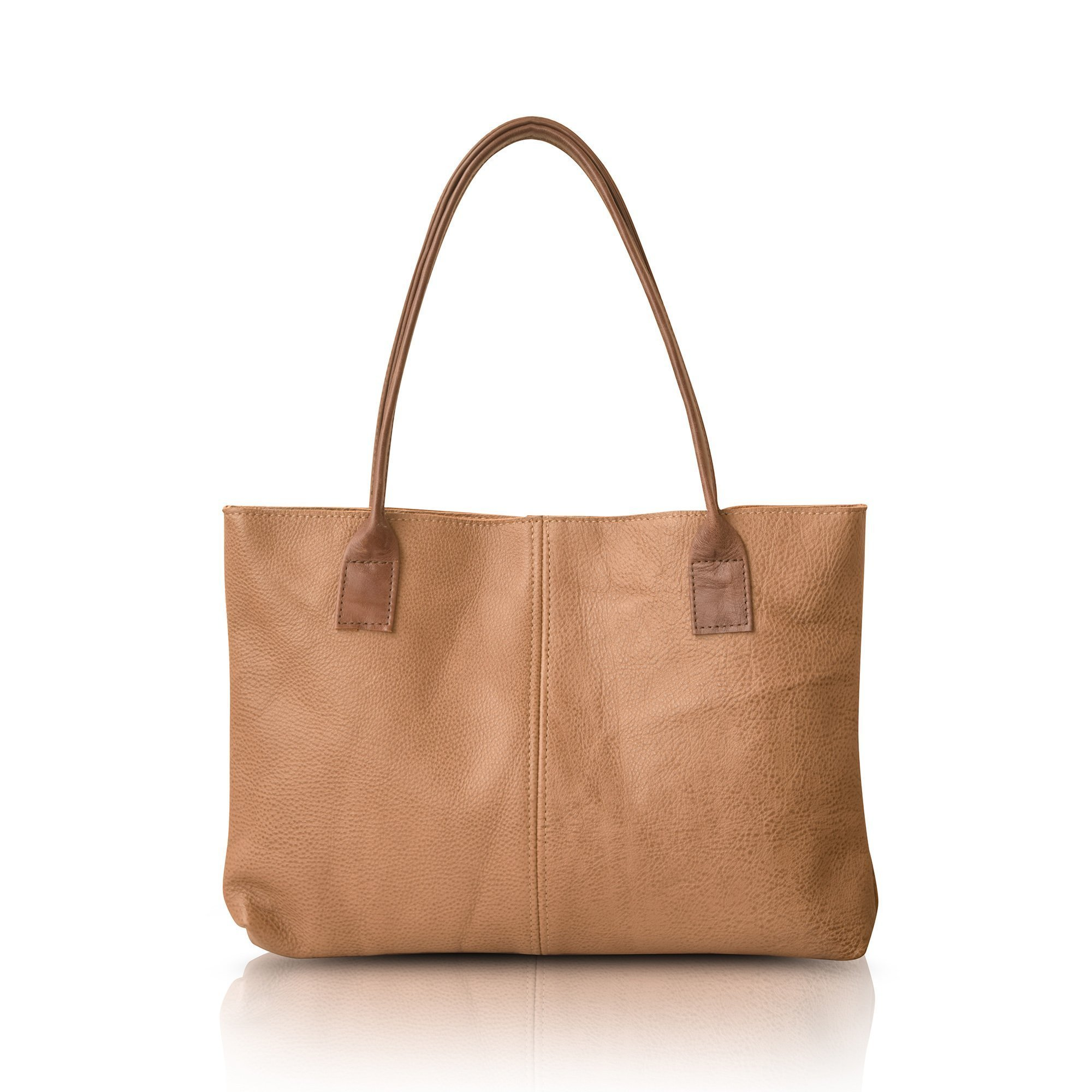 Handmade Durable Simple Everyday Women's Italian Leather Tote Shoulder Bag / Medium Size Leather Work Bag brown