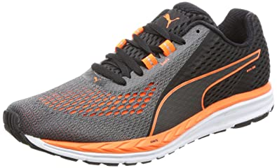 9215cbb6dc5 Puma Men s Speed 500 Ignite 2 Black and Shocking Orange Running Shoes-10.5  UK