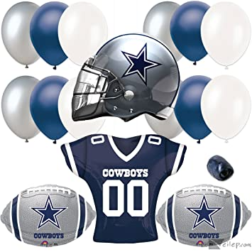 d123c220 Dallas Cowboys Helmet & Jersey 17pc Balloon Pack, Navy Silver White